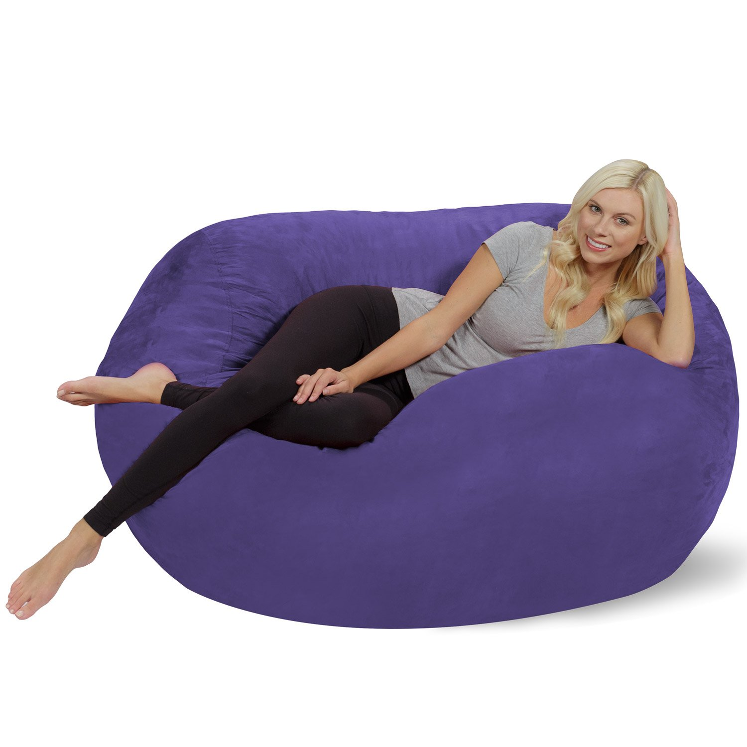 Chill Sack Bean Bag Chair: Huge 5 Memory Foam Furniture Bag and Large Lounger - Big Sofa with Soft Micro Fiber Cover - Purple