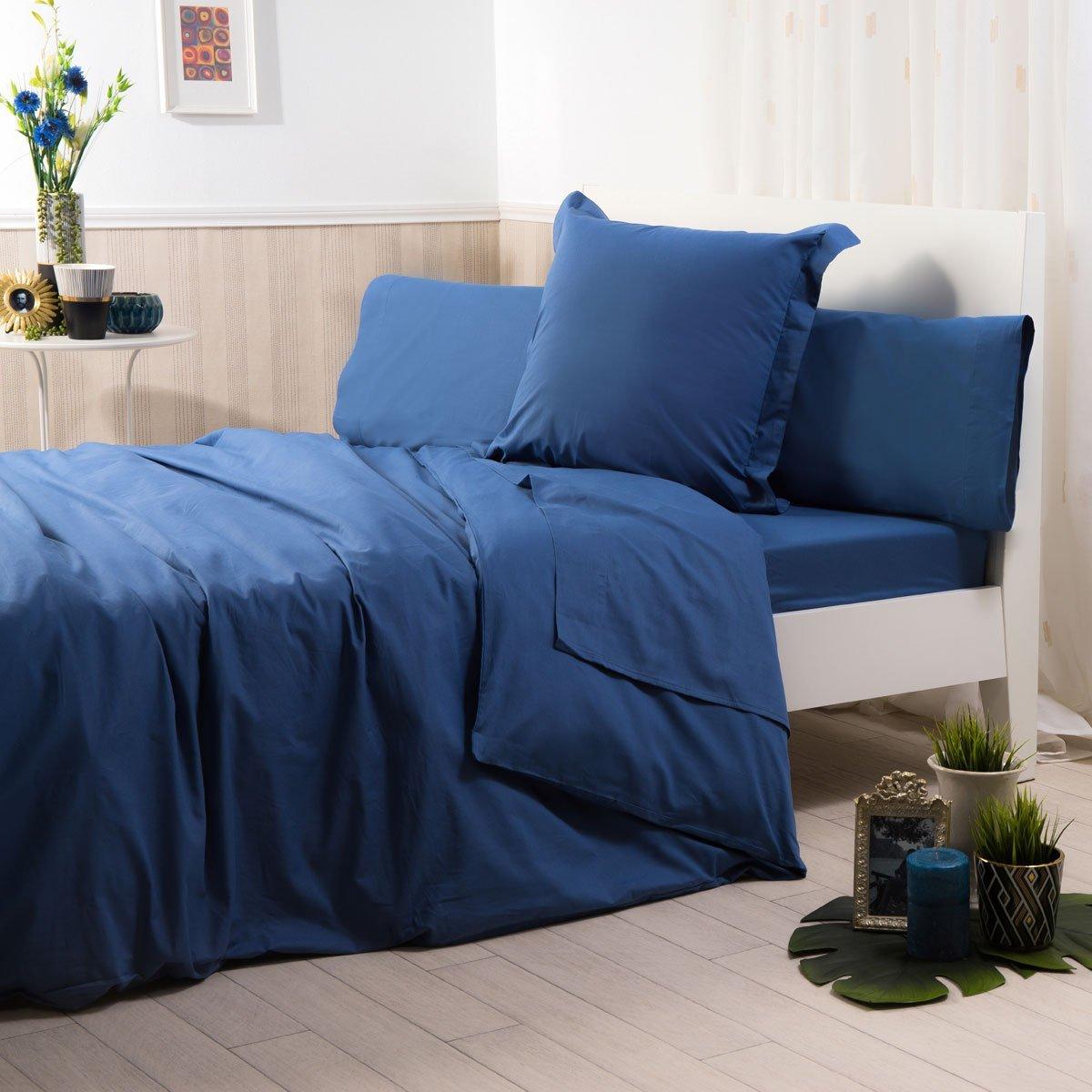 Sancarlos - Funda de almohada para cama, 100% Algodón percal, Color azul marino, Cama de 150 cm: Amazon.es: Hogar