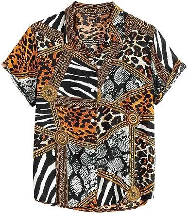 Skang Camisetas Manga Corta Hombre Estampado de Leopardo Vintage Botones Cuello Mao Suelto Polos Blusa de Verano Playa para Señores: Amazon.es: Ropa y accesorios