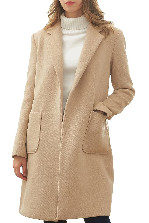 Hanayome Women's Warm Coat Notch Lapel Two Pockets Wool Blend With Detachable Belt MI16-A1