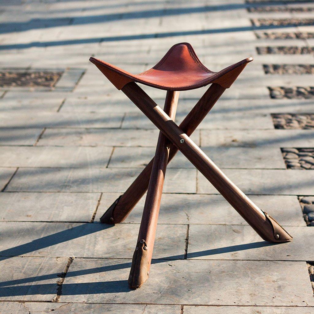 釣り椅子の人格家庭ホームトライアングルスツールマツザスツールチェアヴィンテージポータブル屋外本物の皮革牛革フォールド B07F2Y3K3N