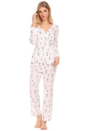 03eb0d2ad793 Ekouaer Womens Pajamas Cat Print Long Woven PJ Set Nightwear (Off White