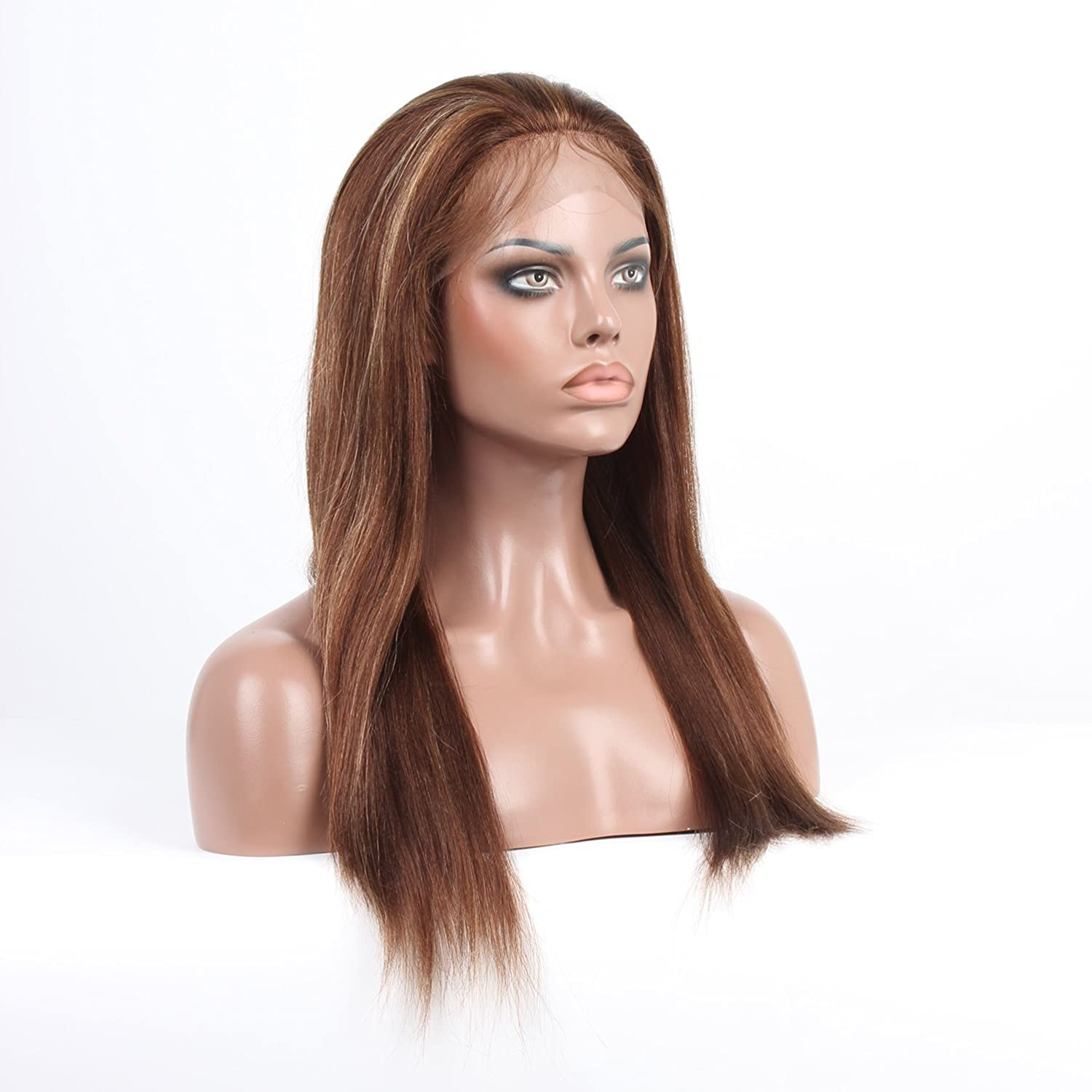 #4/27 Brown Blonde Highlight Full Lace Wigs Virgin Indian Hair Natural Straight Plucking 180% Density Lace Wig for Caucasian (16) 71U9iGlqxRL