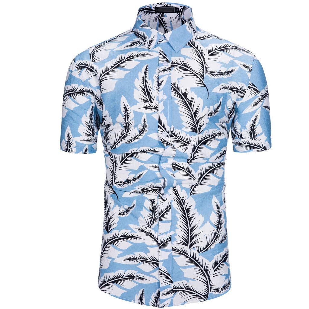 Cozy Cotton Summer Tops Maple Leaf Hawaiian Style Blue Short-Sleeve Shirts for Mens