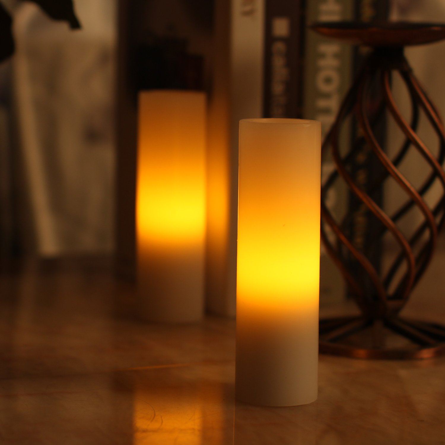 DFL 1-3//4x6 Inch Smooth Flameless Real Wax Votive Led Candle,Battery-Operated,White,pack of 2