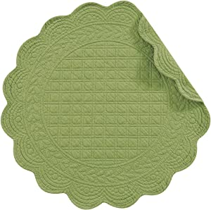 """C&F Home Set of 4 PCS,17"""" Round Quilted Placemats, Green"""