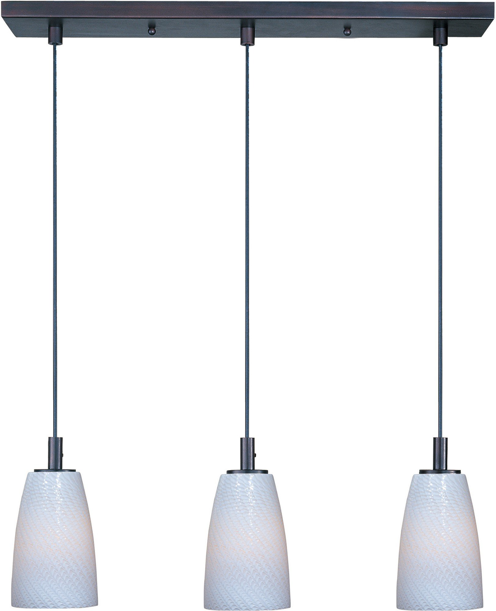ET2 E92043-13BZ Carte 3-Light Linear Pendant, Bronze Finish, White Ripple Glass, MB Incandescent Bulb, 7.25W Max., Dry Safety Rated, Shade Material, 1150 Rated Lumens