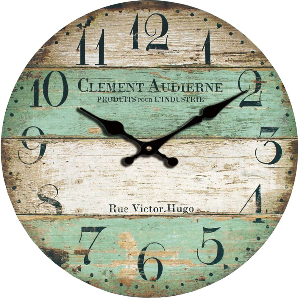 Grazing 12'' Vintage Green and Brown Colorful Stripes Design Rustic Country Tuscan Style,Arabic Numerals,Home Decorative Wooden Round Wall Clock (Victor)