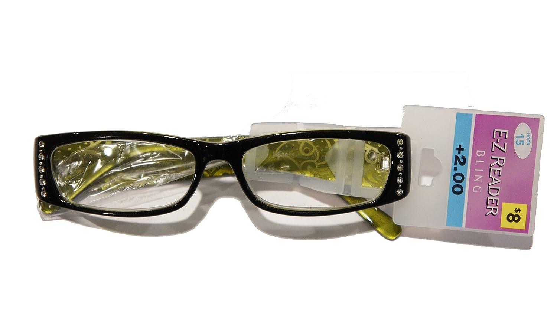 4c421aee880e Amazon.com  E-Z Reader Glasses Black and Green Bling +2.00 Hook 15 Maxine   Health   Personal Care