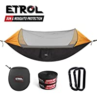 ETROL Upgraded 2 in 1 Large Camping Hammock with Net, Pop-Up Lightweight Portable Hanging Hammocks with Tree Straps, Swing Sleeping Hammock with Net for Outdoor, Hiking, Backpacking,