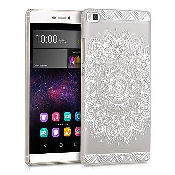 kwmobile Funda compatible con Huawei P8 - Carcasa para móvil - Protector trasero en blanco / transparente