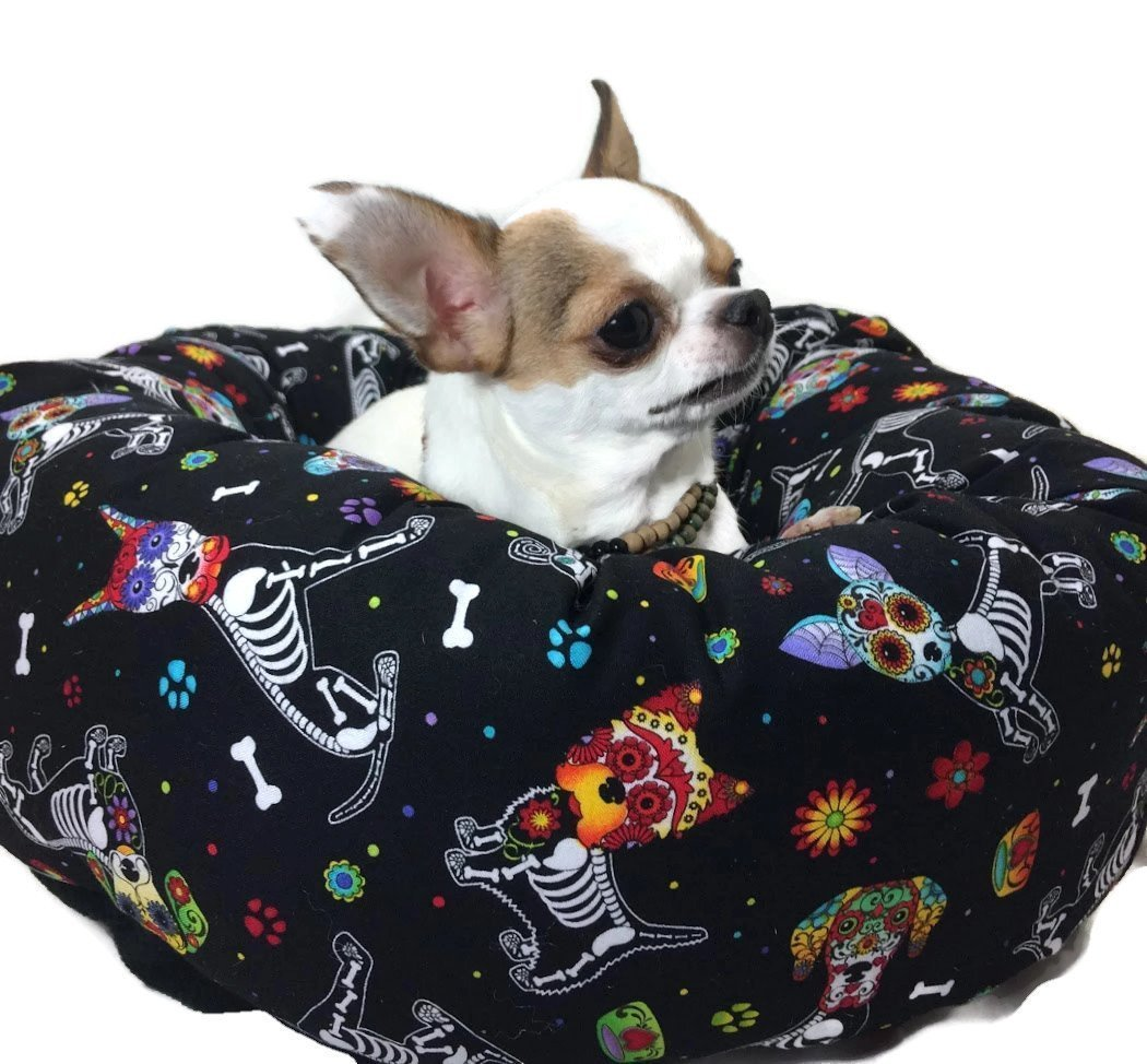 Sugar Skull Skeleton Dogs Round Pet Bed