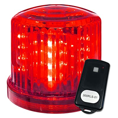 "Fortune Products PL-300RJ-RCS01 Battery Powered Ultra Bright LED Remote Control Police Beacon, Frequency 1, 6"" Diameter x 5"" Height, Red: Industrial & Scientific"