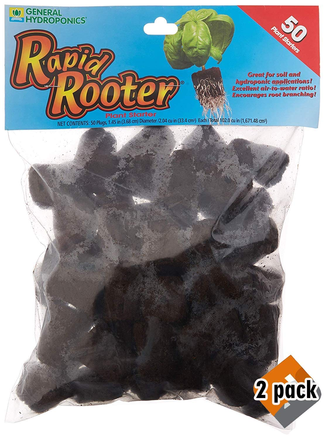 General Hydroponics Rapid Rooter Replacement Plugs 50 Count, Pack 2