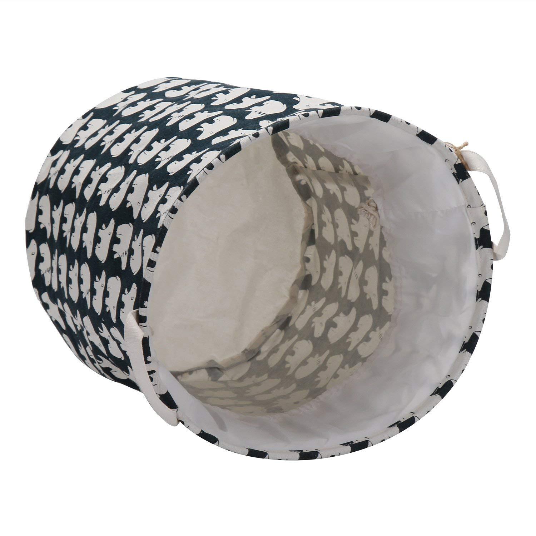 Sea Team 19.7 x 15.7 Large Sized Folding Cylindric Waterproof Coating Canvas Fabric Laundry Hamper Storage Basket with Drawstring Cover Shark