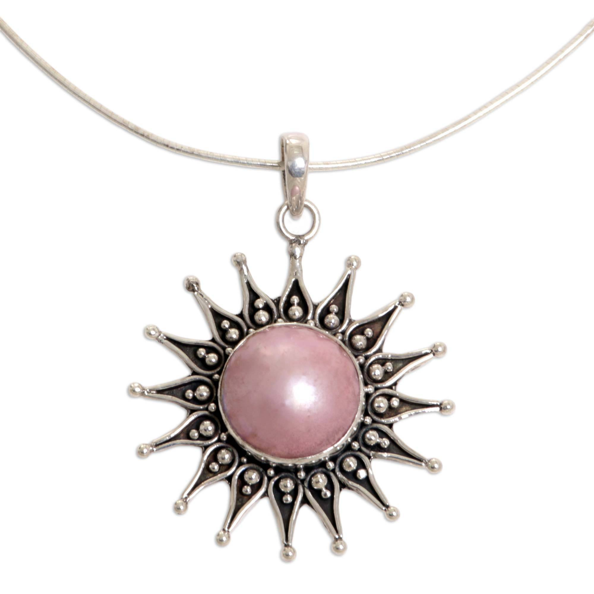 NOVICA Pink Cultured Mabe Pearl .925 Sterling Silver Necklace 'Sunflower'