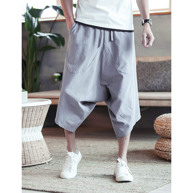 Mens Wild Crotch Harem Pants Summer Baggy Pure Cotton Trousers Plus Size Male Wild-Leg Loose Pants Drawstring