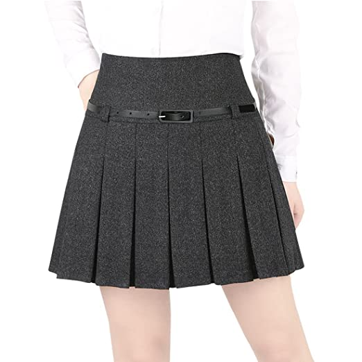 Wincolor Damen A-linie Flared Plissee Woolen Mini Rock mit Gürtel:  Amazon.de: Bekleidung