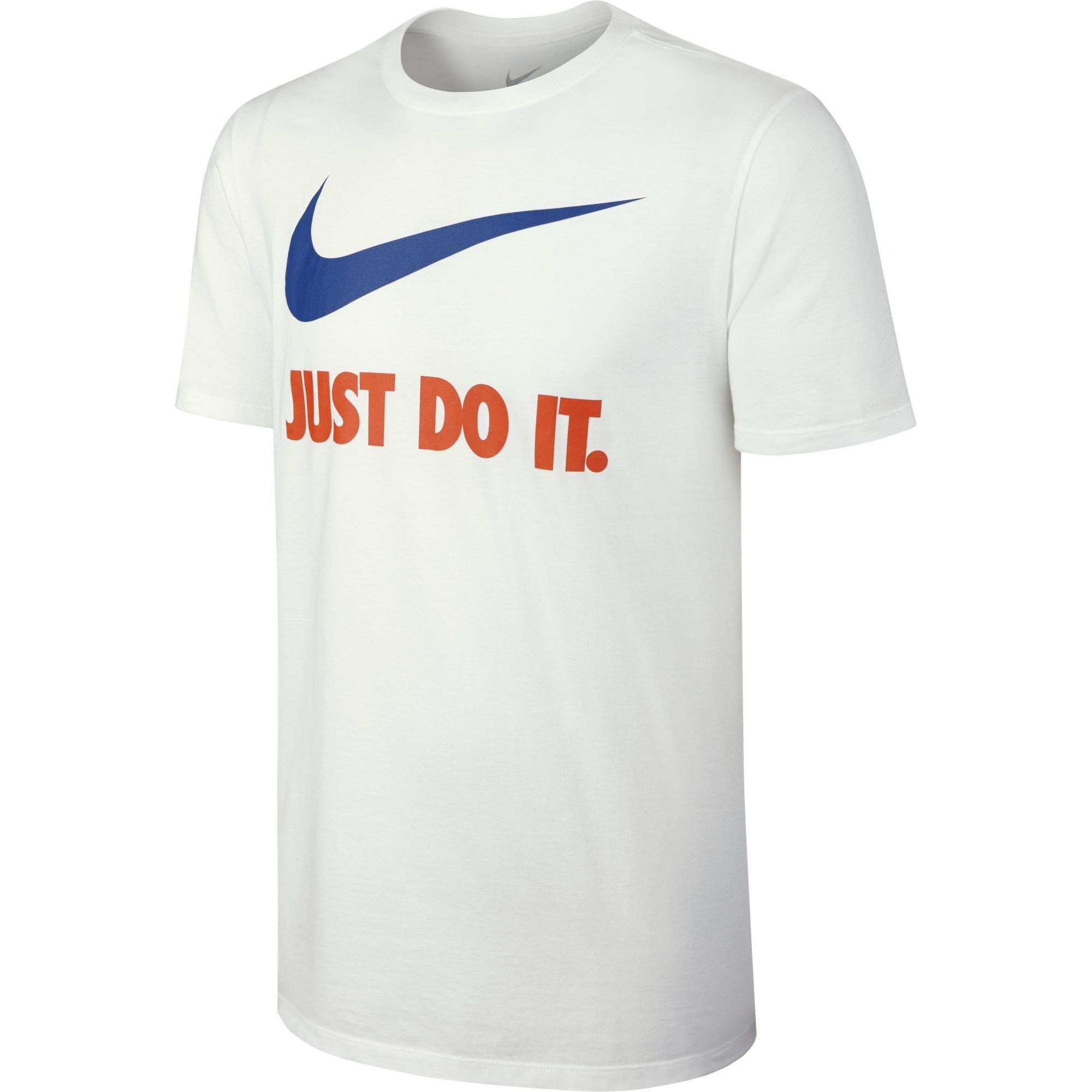 NIKE Sportswear Men's Just Do It Swoosh Tee, White/Team Orange/Team Royal, Small