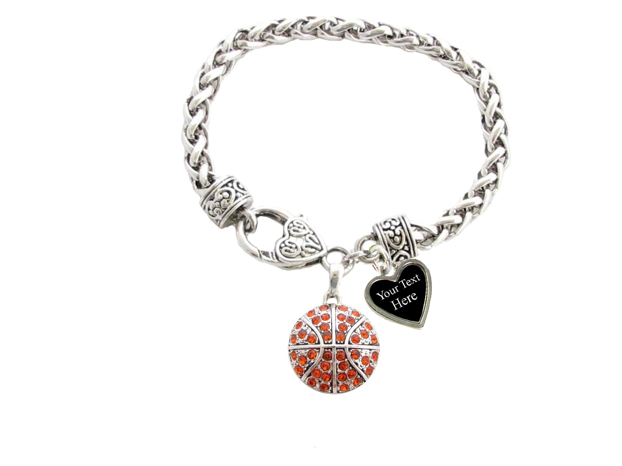 Holly Road Orange Crystal Basketball Silver Lobster Claw Bracelet Jewelry Choose Your Text
