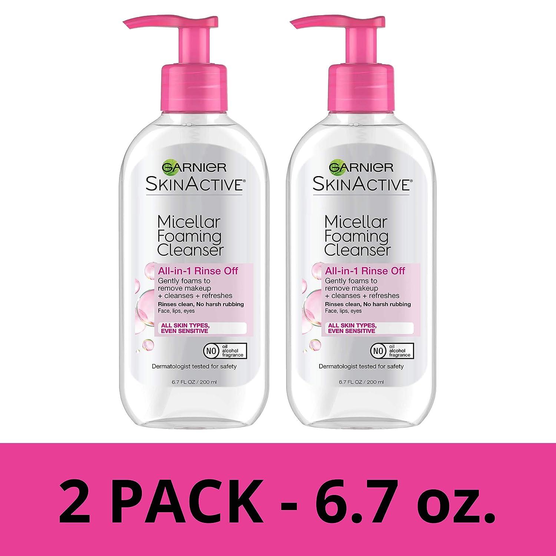 Garnier SkinActive Micellar Foaming Face Wash, 6.7 Fluid Ounce (Pack of 2)