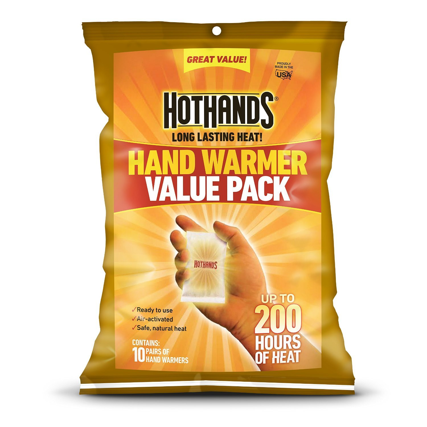 HotHands Hand Warmer Pack (Up to 10 Hours Heat)-Individually Packed, 100 Pair Plus 4 Free Cura Heat (Back Therapy Patches) by HotHands (Image #1)