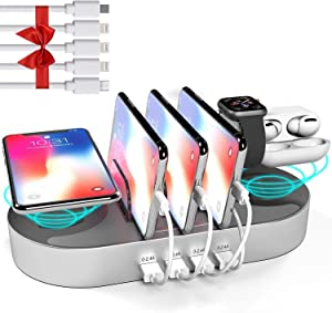 DGStore Charging Station for Multiple Devices, 2 QI Wireless Charging Pad 4 Port USB Charger Station Dock, Compatible with iPhone iPad iWatch AirPods Android Devices