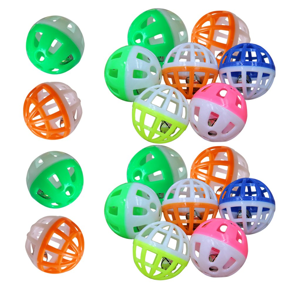 MMdex 18-Pieces Pet Cat Kitten Play Balls With Jingle Bell Pounce Chase Rattl...