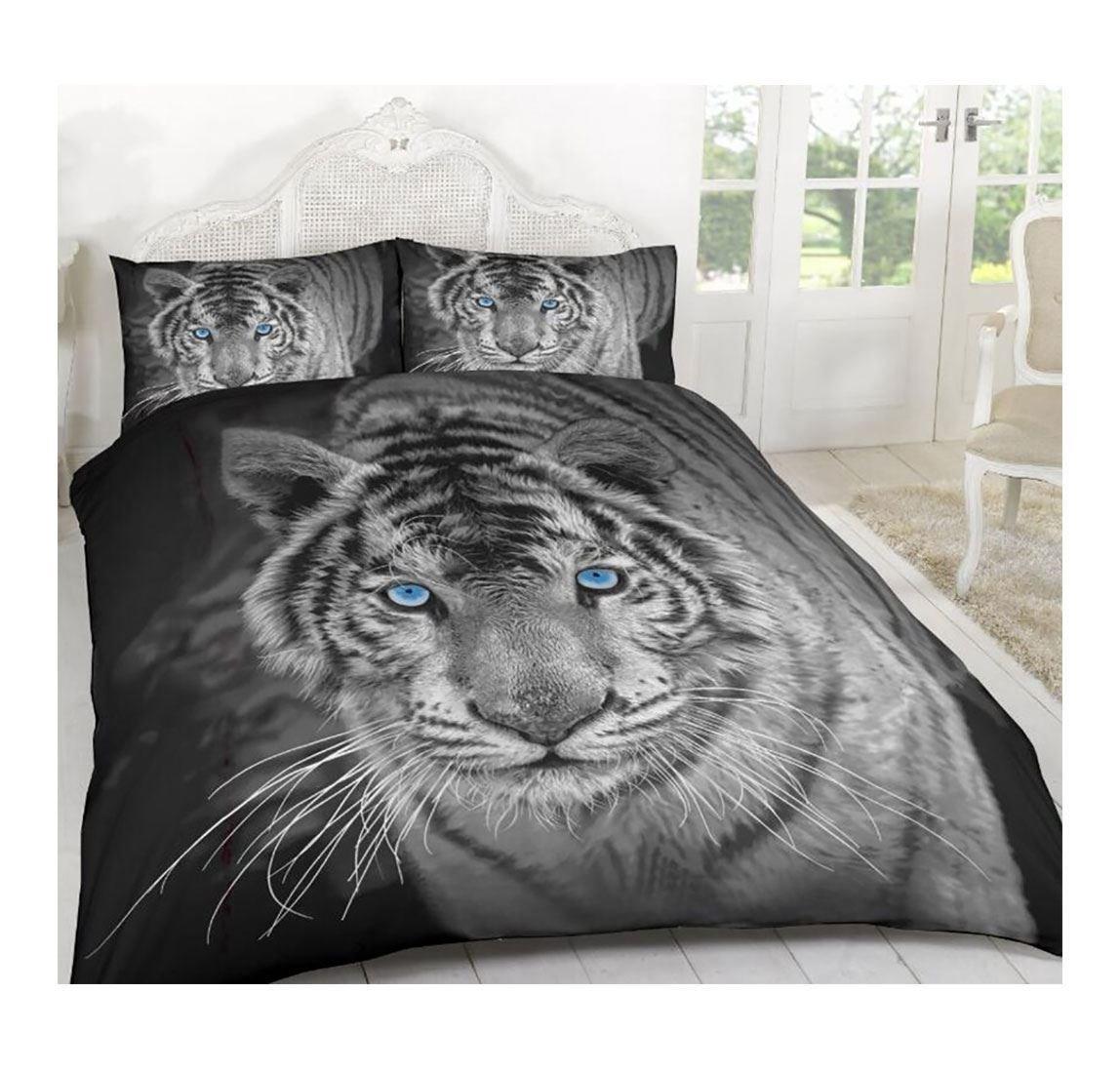 Rimi Hanger Black White Tiger 3D Animal Printed Duvet Bedding Covers Set With Pillowcases Double