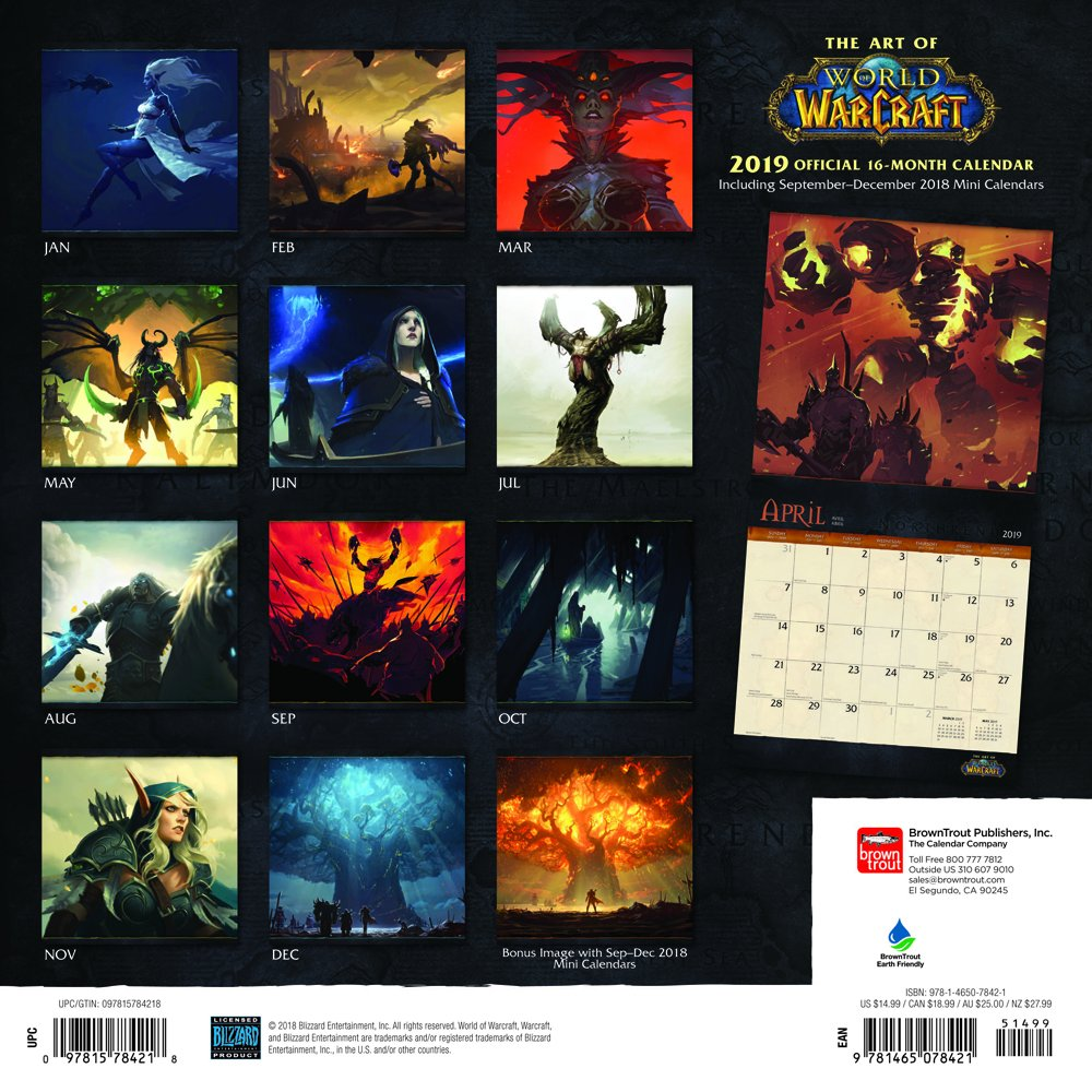 World of Warcraft 2019 12 x 12 Inch Monthly Square Wall
