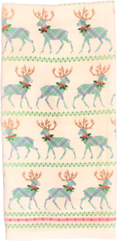 Dena Home Blue Plaid Reindeer Holiday Bath Towel
