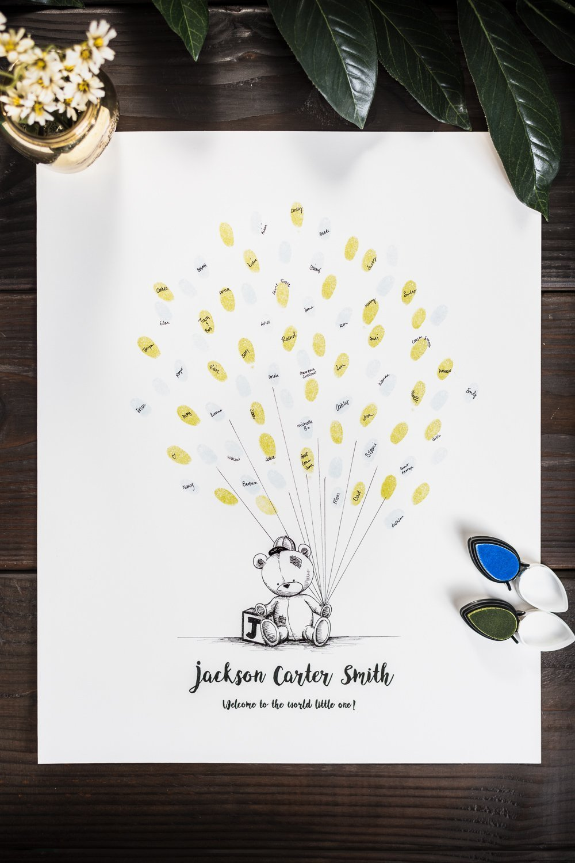 Fingerprint Tree custom wedding guestbook - Original thumbprint guest book alternative (Small Size Baby Boy) includes 1 ink pad!!