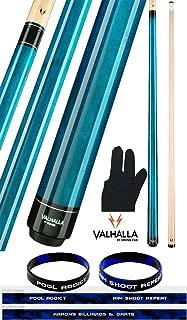 product image for Valhalla by Viking VA103 Blue 2 Piece Pool Cue Stick No Wrap 18-21 oz. Plus Billiard Glove & Bracelet