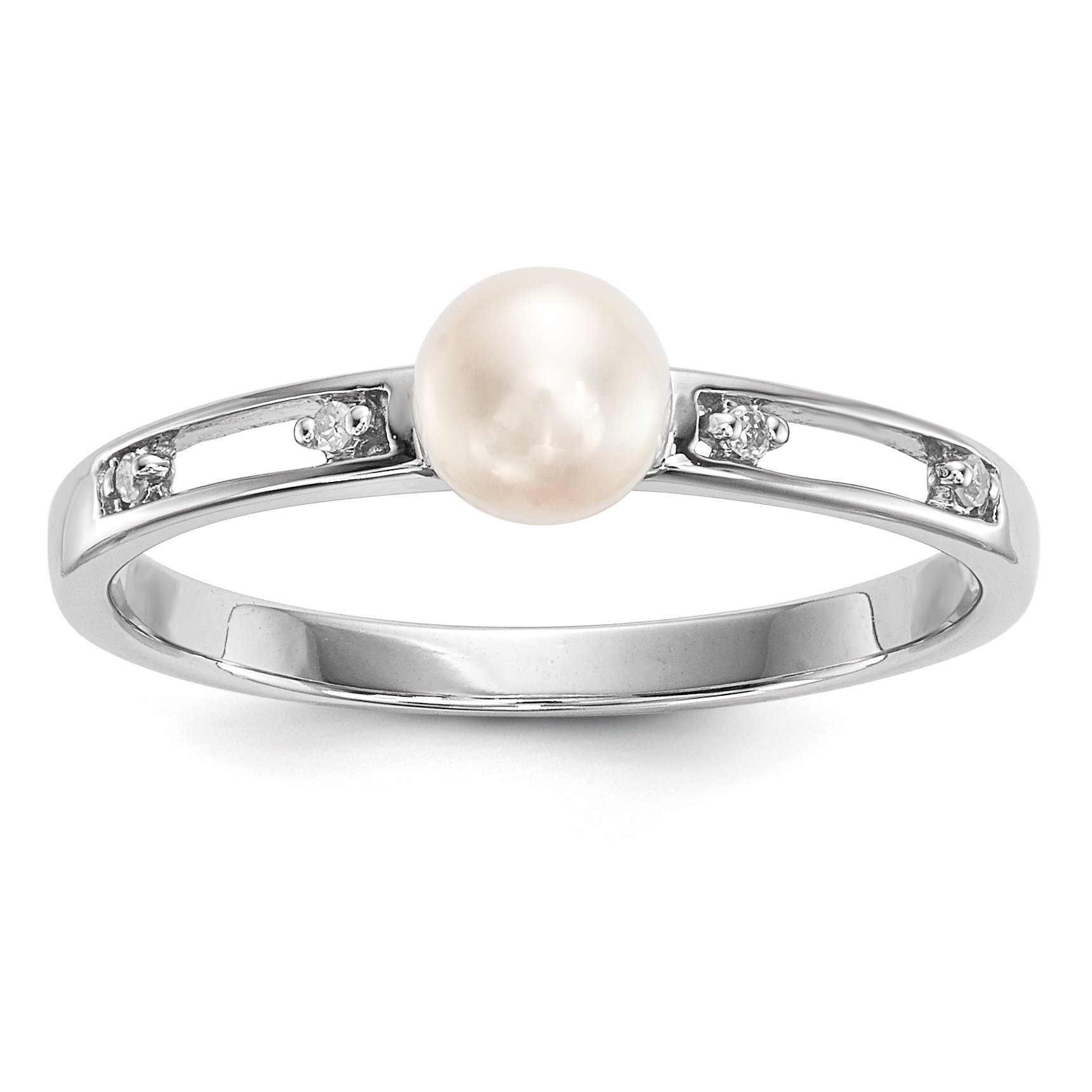 ICE CARATS 14k White Gold Freshwater Cultured Pearl Diamond Band Ring Size 7.00 Fine Jewelry Gift For Women Heart