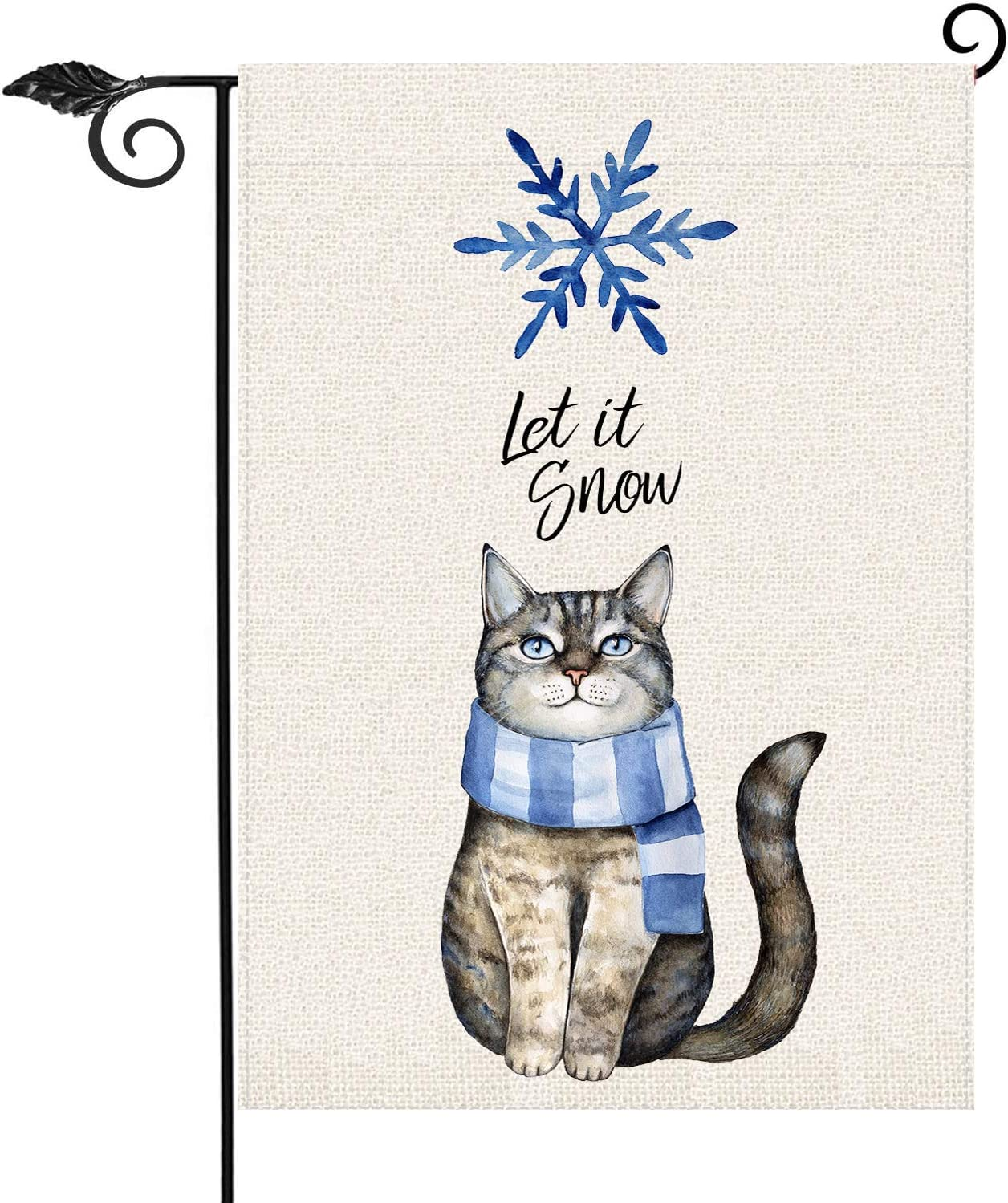 Winter Cat Let It Snow Garden Flag Vertical Double Sided 12.5 x 18 Inch Farmhouse Christmas Winter Holiday Burlap Yard Outdoor Decor,Winter Yard Garden Welcome Sign