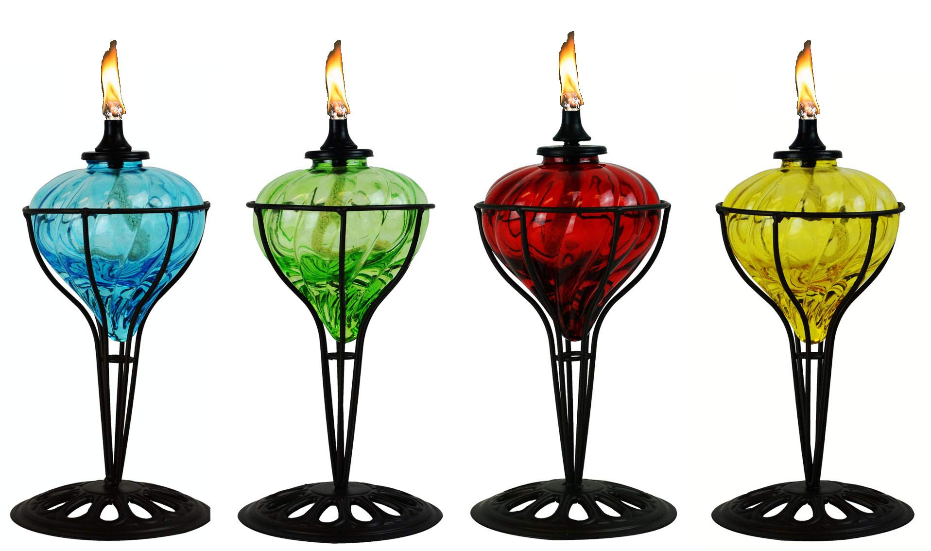 4 Pack 10 in Assorted Color Table Top Torch - Burning Citronella / Lamp Oil Product SKU: GD10061