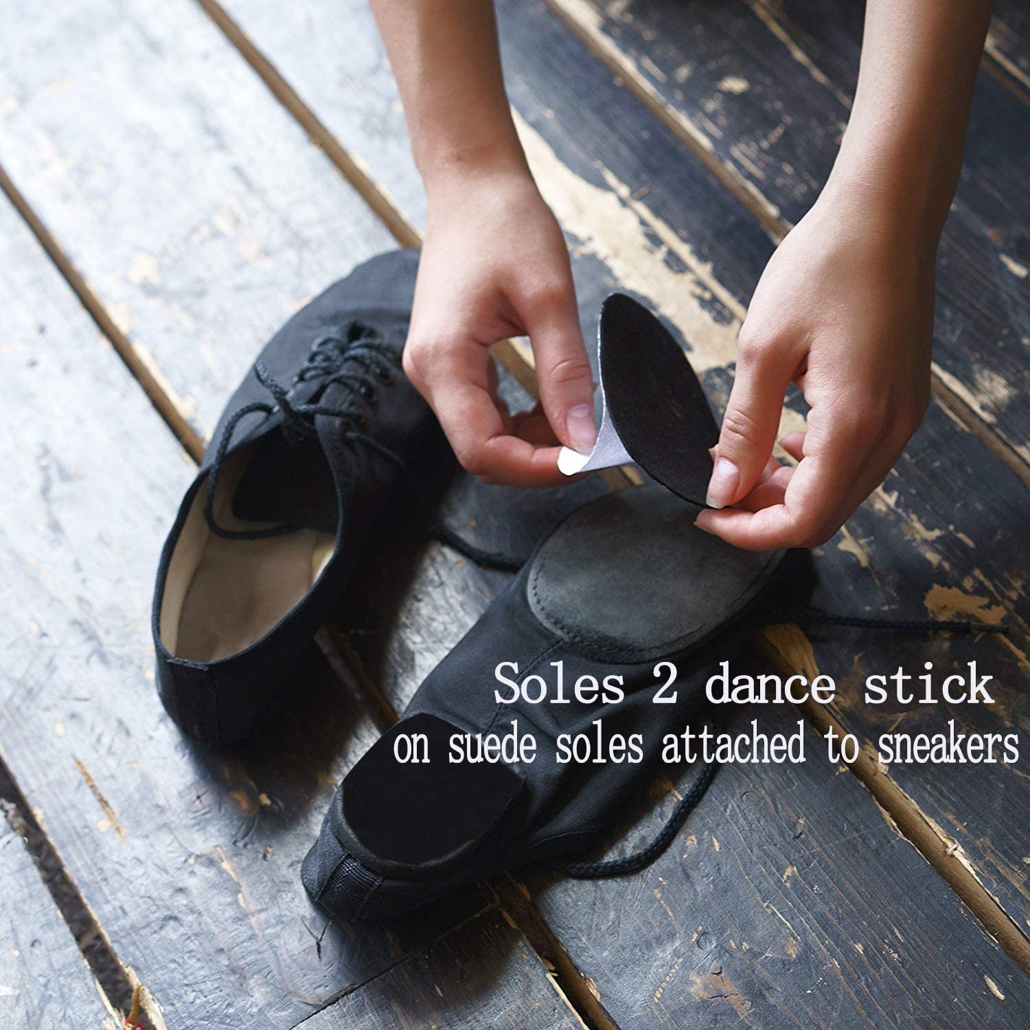 YAVOUN Stick-on Suede Friction-reducing dance soles for ,Easy pivoting and sliding on sticky indoor dance floors,Self-Adhesive Non-slip High-Heeled Shoes Sole Protector Pads Sticker
