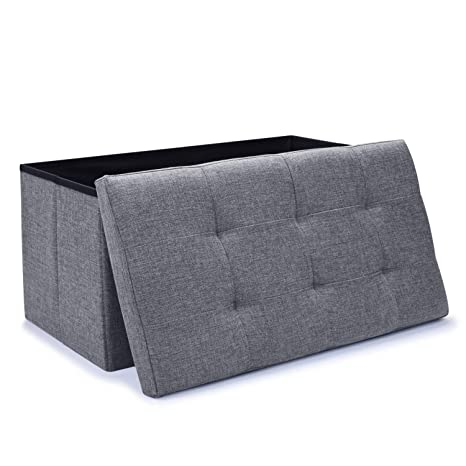 Awe Inspiring Wonenice Linen Folding Storage Ottoman Bench Storage Chest Footrest Padded Seat 30 X 15 X 15 In Gray Caraccident5 Cool Chair Designs And Ideas Caraccident5Info