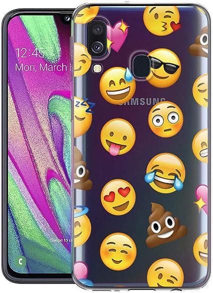 Imagen deZhuoFan Funda SamsungGalaxyA40, Cárcasa Silicona Transparente con Dibujos Diseño Suave TPU Antigolpes de Protector Piel Case Cover Bumper Fundas para Movil SamsungA40, Emoji