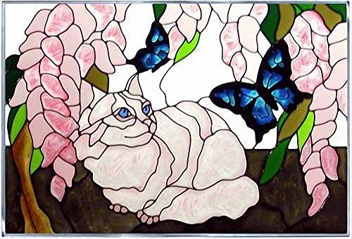 White Cat Blue Butterfly Horizontal Art Glass Panel Wall Window Hanging Suncatcher 14 x 20