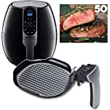 GoWISE USA 3.7-Quart Air Fryer w/8 Cook Presets (Black + Grill Pan)