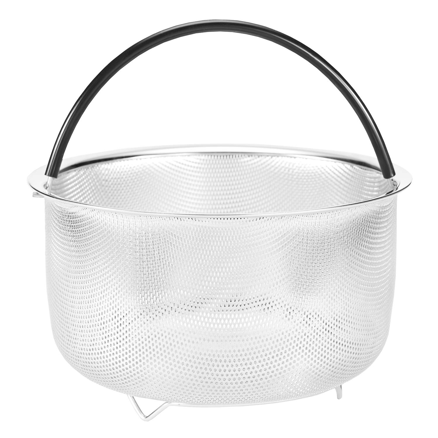 18/8 Stainless Steel Steamer Basket for Instant Pot Accessories 8qt 6 Quart Available Insert Pressure Cooker Rice Egg Vegetable Meat Silicone Handle Dishwasher Safe Welldeal HK0004-5