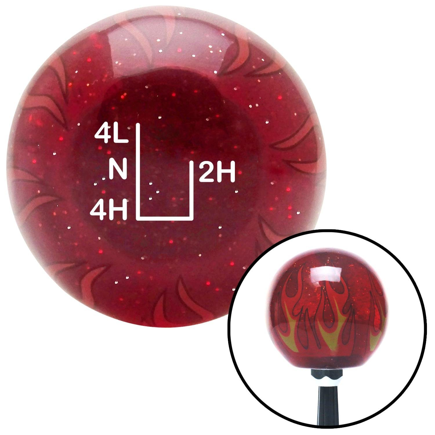 American Shifter 243062 Red Flame Metal Flake Shift Knob with M16 x 1.5 Insert White Shift Pattern 54n