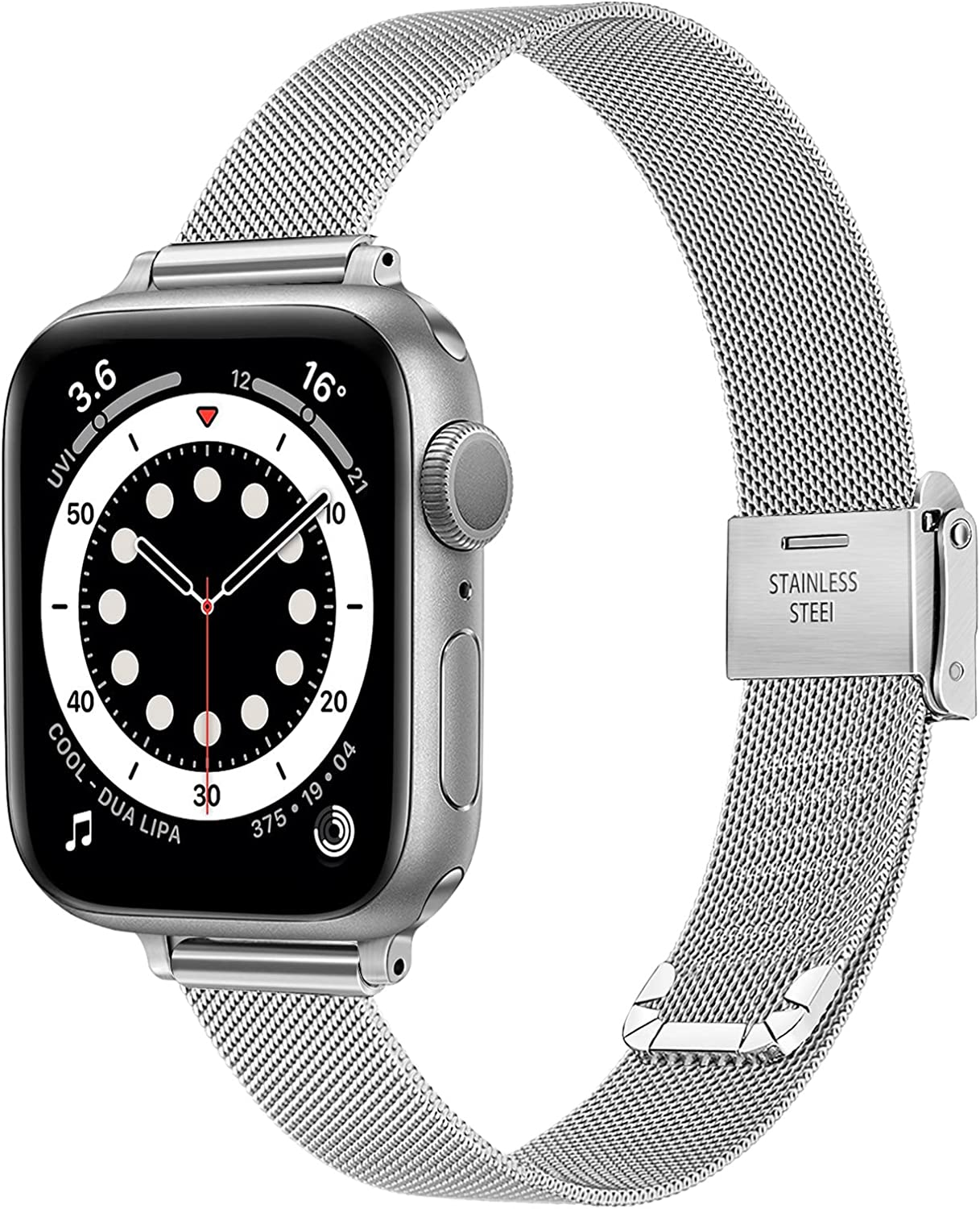 TRUMiRR Slim Band for Apple Watch Series 6 / SE 40mm 38mm Women, Mesh Woven Stainless Steel Watchband Feminine Strap Replacement for iWatch Apple Watch SE Series 6 5 4 3 2 1 40mm 38mm