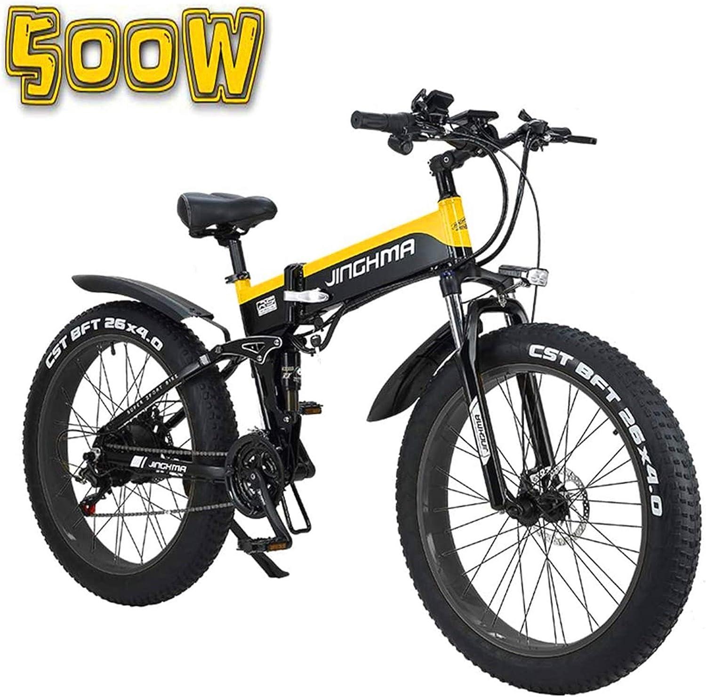 Alta velocidad Bicicleta eléctrica, de 26 pulgadas plegable 13Ah Batería de litio nieve bicicletas, pantalla LCD y faros de LED, 4.0 anchos neumáticos, 48V500W suave cola de la bicicleta