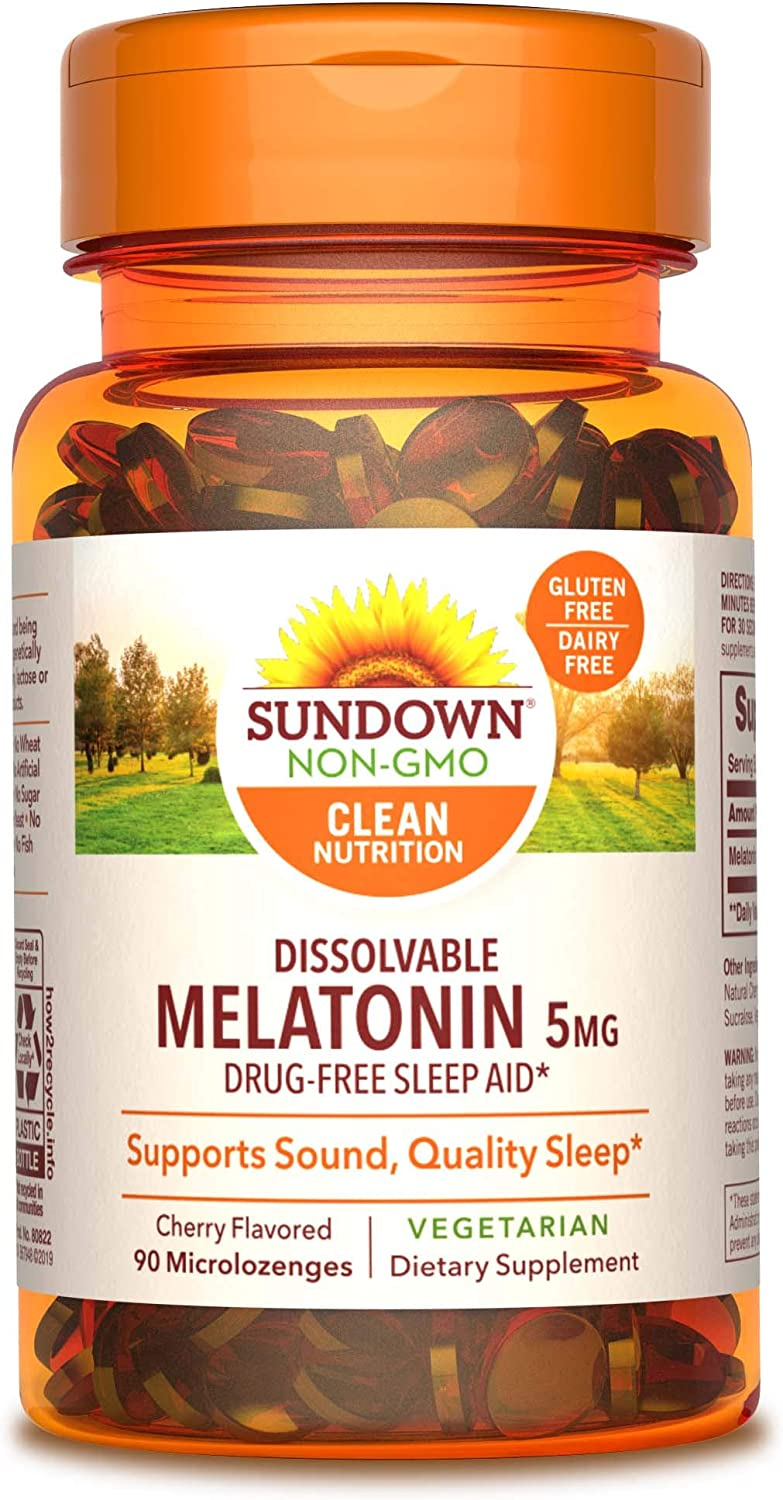 Melatonin by Sundown, for Restful Sleep, Non-GMOˆ, Free of Gluten, Dairy, Artificial Flavors, 5 mg, 90 Quick Dissolve Microlozenges (Packaging May Vary)
