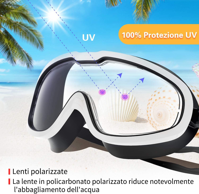 Fenvella Occhialini da Nuoto Bambini occhialini Piscina in Silicone con Adatti per Adulti Antiappannamento PC Lente Integrata con Protezione UV Impermeabile