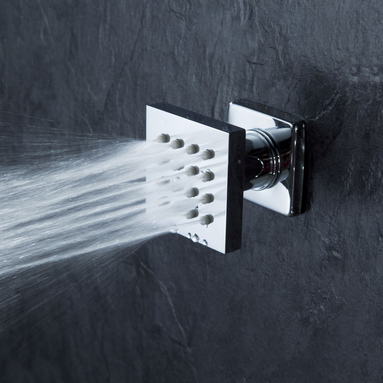Cascada Modern Solid Brass 16-Nozzle Square Body Spray Jets Shower, Antique Brass Finish