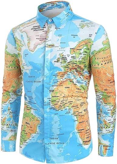 HoSayLike Mapa Casual del Mundo de los Hombres con Camisa de Botones Blusa Superior: Amazon.es: Ropa y accesorios