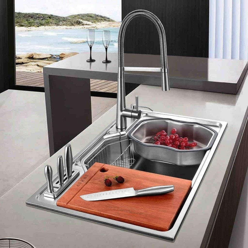 Fregaderos De Acero Inoxidable Cocina para Lavar Verduras Cocina Lavaplatos Piscina Restaurante Lavabo Color : Silver, Size : 80x50x22cm